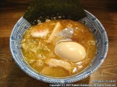 つけ麺 紅葉@国分寺 味玉つけ麺(平打ち麺) つけ汁